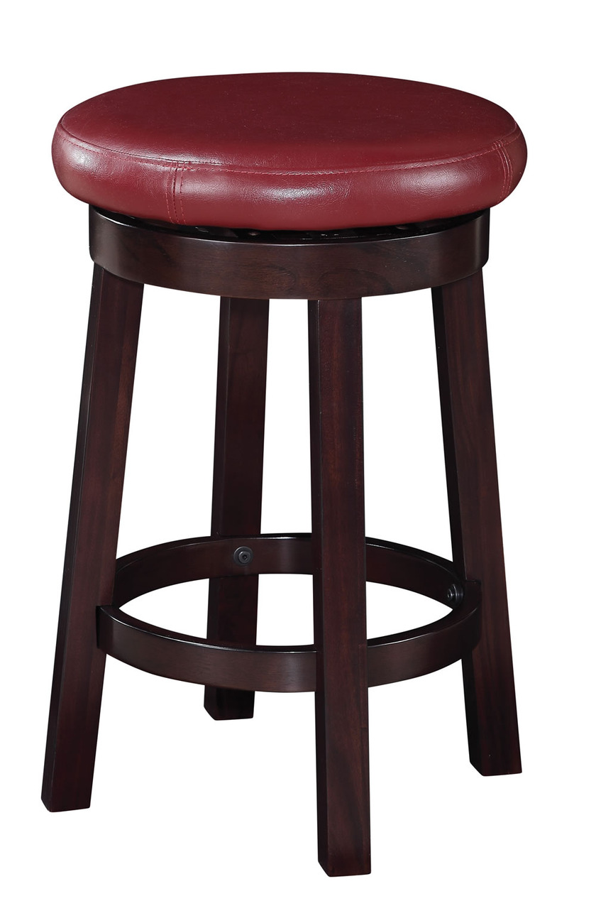 24 Inch High Seat Round Bar Stool Faux Leather Wood Stool Counter Chair Met1924 Bar Stools