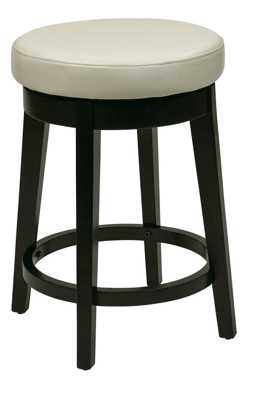 24 Inch High Seat Round Bar Stool Faux Leather Wood Stool