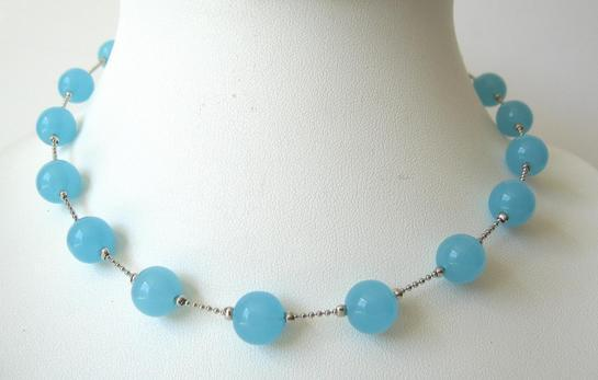 Blue Glass Faceted Beads Choker Rhodium Silver Plated Chain Necklace