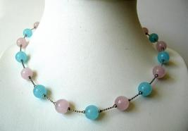 Pink & Blue Glass Faceted Beads Choker Necklace - $9.48