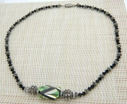 Sterling Silver Art Glass Crystal Rhinestone Bead Beaded Green Black Nec... - $24.74