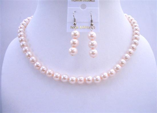 Cream Choker Necklace 16 Inches Synthetic Pearls Jewelry Earrings Set