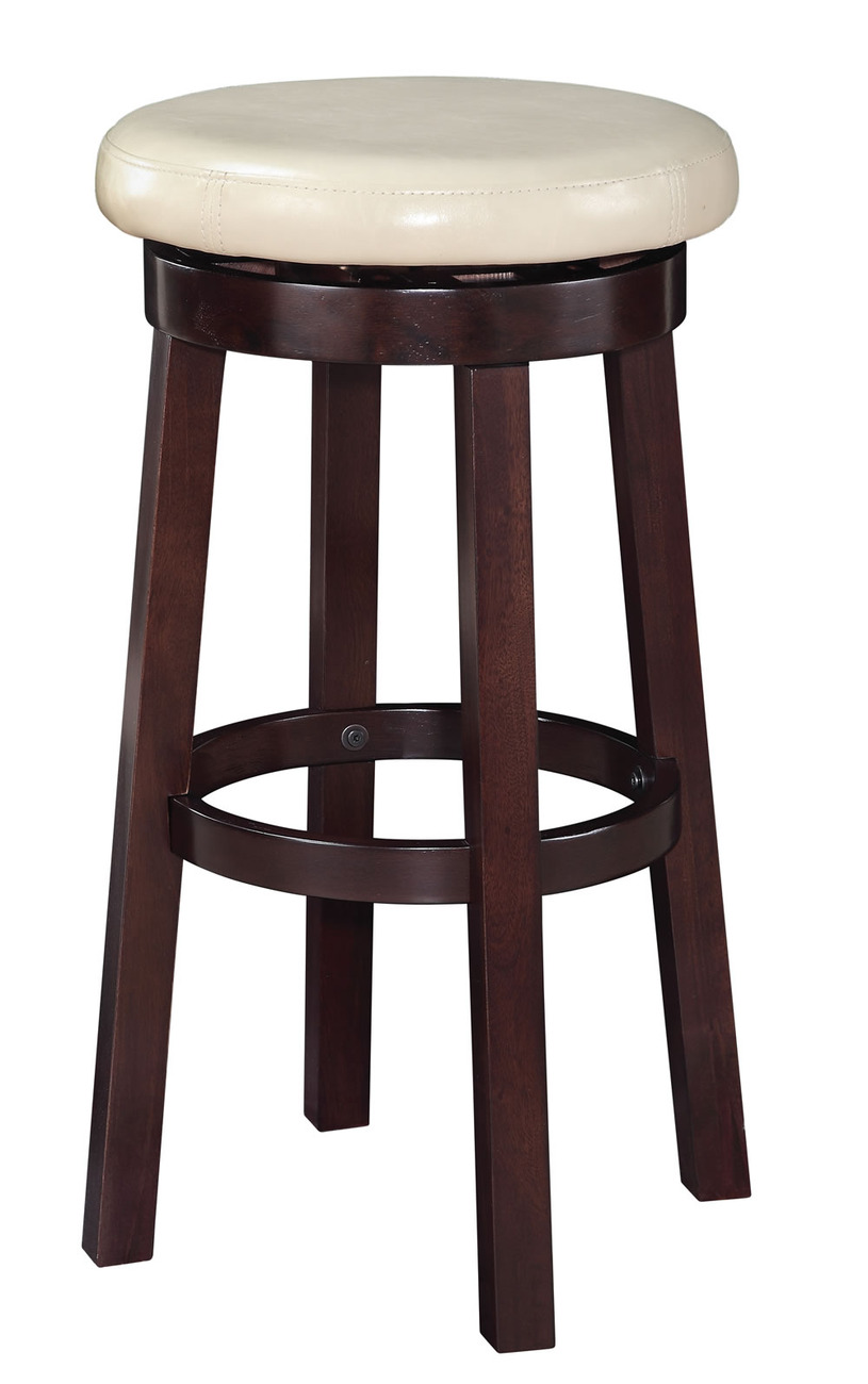 29 Inch High Seat Round Barstool Faux Leather Wood Stool