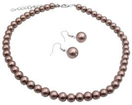 Brown Synthetic Pearls Necklace Set w/ Pearls Stud Earrings Jewelry - $8.83