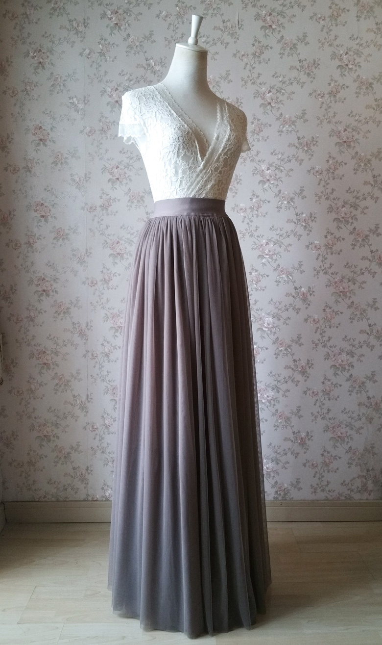 Maxi skirt tulle coffee 780 3