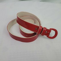 """red faux patent leather Belt 37"""" long - last hole @34"""" - $12.59"""