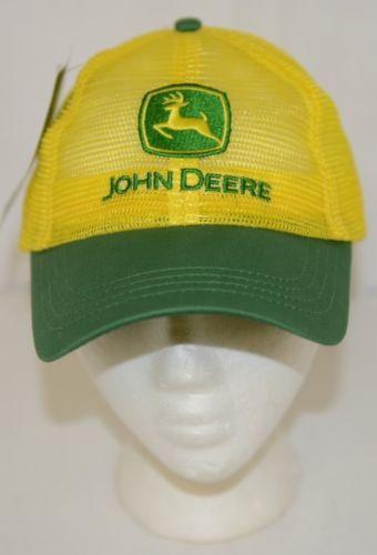 John Deere LP14424 Yellow Mesh Cap With Green Bill Snap Back