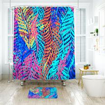 Flower Lilly Pattern 01 Shower Curtain Waterproof & Bath Mat For Bathroom - $15.30+