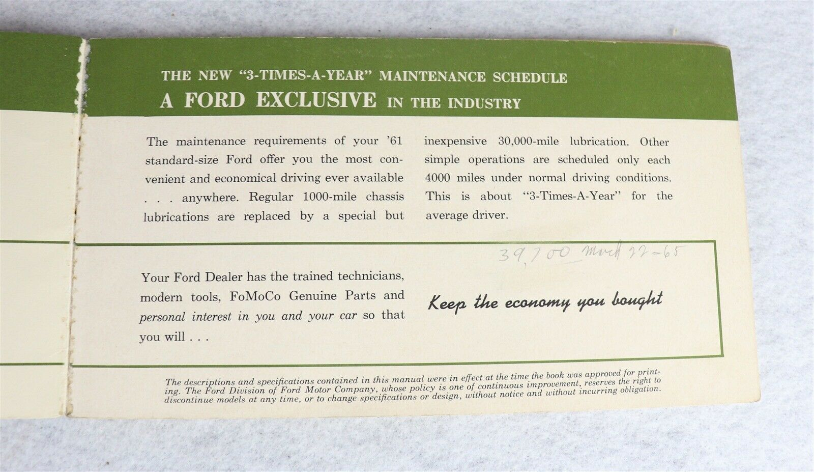 The 1961 Ford Car Owner's Manual