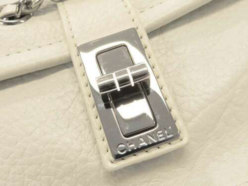 CHANEL Shoulder Bag 2.55 Leather White Semi Shoulder Length Italy Authentic image 6