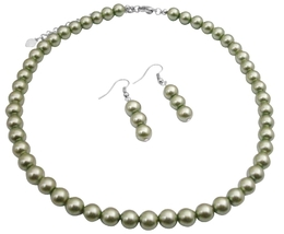 Cool Summer Color Green Necklace 16 Inches Synthetic Pearls Jewelry - $8.83