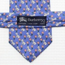 Burberrys Mens Silk Hand Made USA Dalmatian Dog Flower Spring Pattern Ne... - $38.69