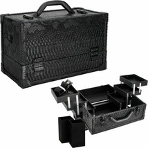 Black  Python 6 Tiers Accordion Trays Professional Cosmetic Makeup Train... - $74.20
