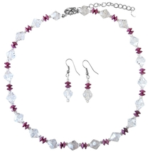 Daisy Spacer Jewelry Clear Crystals w/ Fuchsia Immitation Crystals Set - $9.48