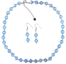 Cheap Wedding Jewelry In Blue Crystals w/ Silver Beads Spacer Set - $9.48