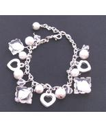White Pearl Clear Crystal Heart Charm Trendy Bracelet Pearl Dangling - $8.18