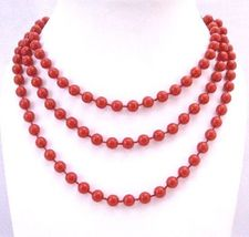 Sexy Red Bead Long Necklace Red Lucite Beads 2 or 3 Strands 54 Inches - $9.48