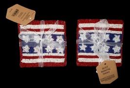 8 Pc Thirstystone Americana 4th of July Flag Beaded Coasters NWT FREE SH... - $44.54