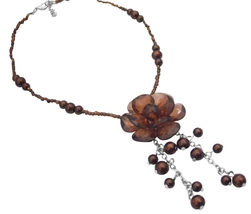 Smoked Topaz Brown Wedding Bridesmaid Brown Beads Pearl Necklace - $9.48