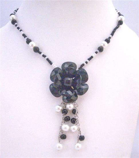 Black White Beads Pearls with Black Flower Dangling Stunning Necklace