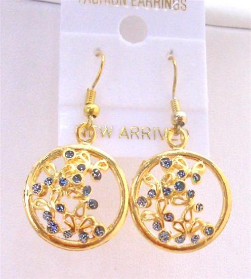 Round Gold Plated Earrings w/ Tiny Flowers Inside Hoop Earrings