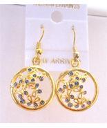 Round Gold Plated Earrings w/ Tiny Flowers Inside Hoop Earrings - $5.58