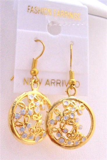 Gold Hoop Earrings Round Gold Plated Earrings w/ Tiny Flowers Inside