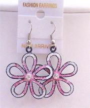 White Pink Flower Earrings White Pink Glitter White Enamel Earrings - $5.58