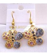 Glitter Butterfly Shimmering Gold Plated Butterfly Earrings - $5.58