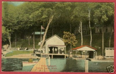 Primary image for Indian Lake MI Postcard Indian Beach Boat House '13 BJs