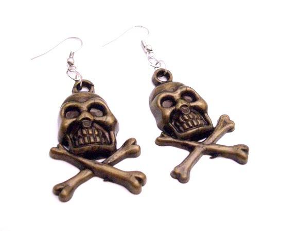 skull Head Earrings In Brass Coated Skull Jewelry