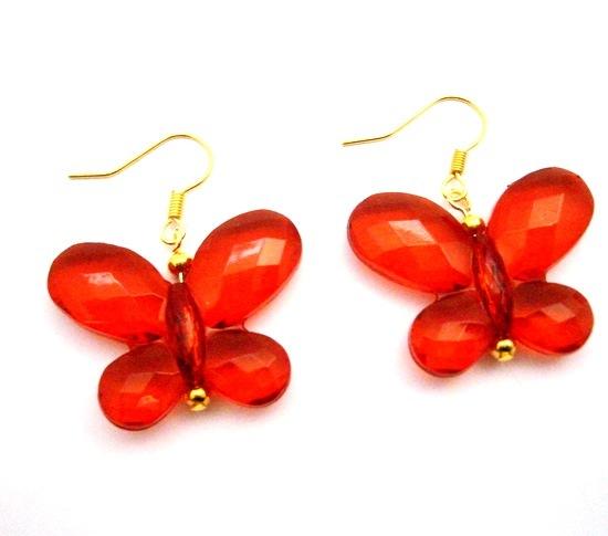 Looking For Butterfly Jewelry Red Striking Butterfly Gold Hook Earring