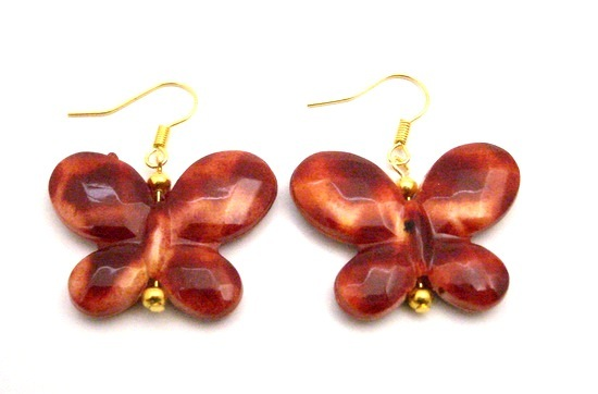 Raising Funds Only A Dollar Jewelry Brown Butterfly Gold Hook Earrings