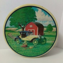 Cookies Bear Farm Car Tin Box Container Canister Round Some Scuffs - $9.90