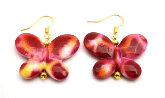 Charitable Jewelry Butterfly In Pink Yellow Shaded Gold Hook Earrings