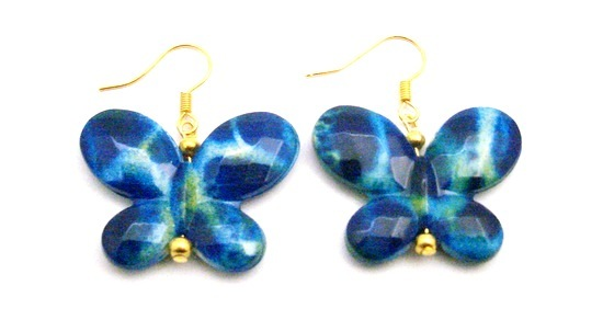 Girls Birthday Return Gift Blue Shaded White Butterfly Earrings
