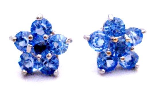Birthday Gift Return Earrings Blue Flower Stud Earrings