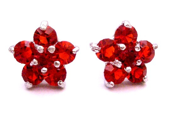 Girls Fancy Return Gift Red Stud Earrings Flower Stud Earrings