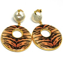 Silver Earrings 925, Hanging, Pearls Baroque Style Flat, Ovals Effect Tabby image 1