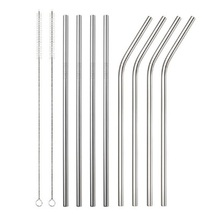 4 pcs Stainless Steel Straw Reusable Metal Drinking Straw With Cleaner B... - $10.44