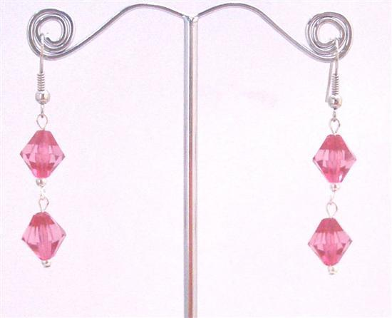 Only A Dollar Earrings Fuchsia Simulated Bicone Crystals Earrings