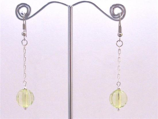 Peridot Acrylic Bead Dangling Earrings Stunning Amazing Dollar Earring