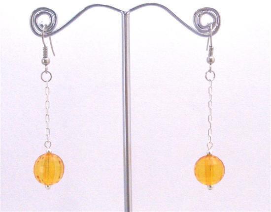 Pumpkin Color Jewelry For Dollar Earrings w/ Dangling Chain Earrings