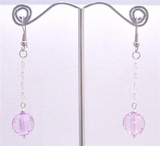 Acrylic Bead Jewelry Dollar Earrings Light Purple Ball Dainty Earrings