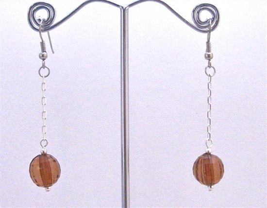 Cheap Earrings Dark Brown Acrylic Bead Dangling Chain Only For Dollar