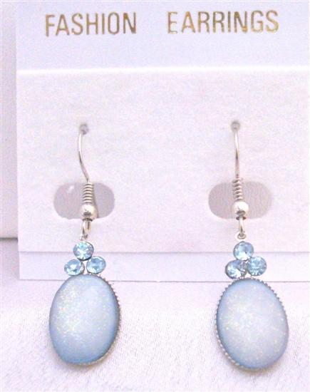 Aquamarine Oval Bead Earrings w/ Aquamarine Cubic Zircon Decorated
