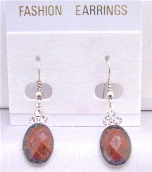 Jasper stone Colored Oval Bead Decorated 3 Simulated Diamond Earrings