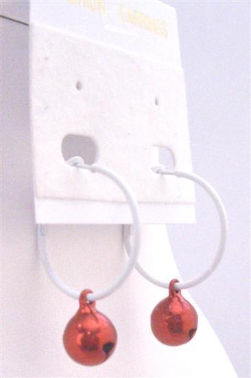Christmas Red Jingle Bell Cheap Dollar Earrings White Hoop Earrings