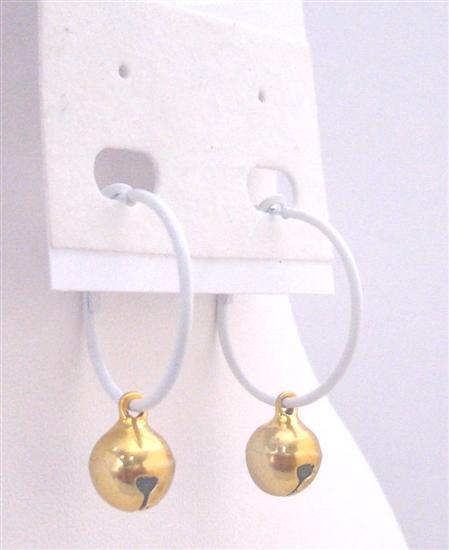 Golden Bead Dangling Earrings Dollar Jewelry White Hoop Golden Jingle