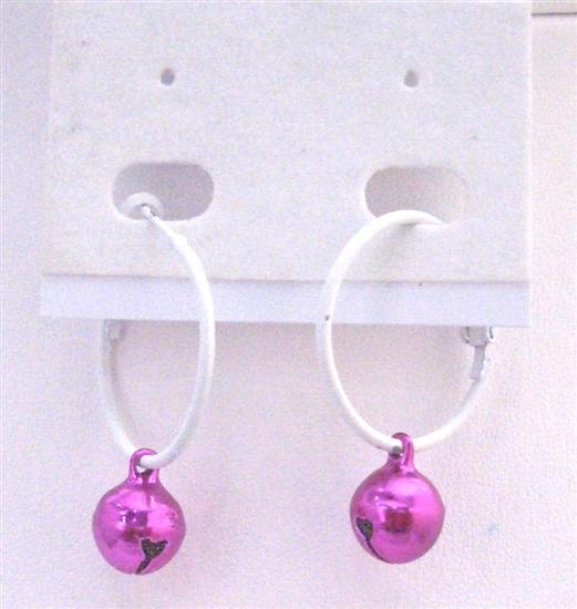 Christmas Jewelry Jingle Bell Earrings White Hoop w/ Fuchsia Bell